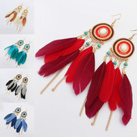 Retro Feather Tassel Earrings Dangle Chain Gold Enamel Earri...