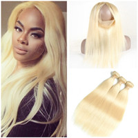 # 613 Blonde 360 ​​Lace Frontal Closure 22.5x4x2 con Tejidos Straight Indian Blonde Virgin Cajas de cabello humano Ofertas 3Pcs con 360 Frontal