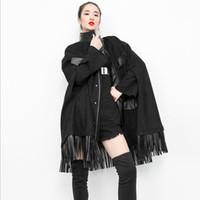 Tradelera de mujer Abrigos de otoño Moda de moda Cerrejado Turtleneck Dark Punk Black Cape Cardigan Jacket Femal Knitwear Abrigo Más Tamaño Zipper OU