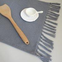 1 шт. Handmade Чистый хлопчатобумажный стол салфетка ткань для выпечки пищевые полотенца с кисточками меткуматы кухонные теплоизоляционные колодки