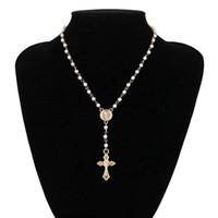 Cuentas de rosario católicos Collar cruzado Declaración de mujeres Joyería religiosa Oro Lin Cadena Múltiples capas Gargantillas Vintage Colgantes Collares