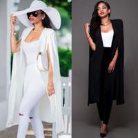 2016 Autumn Weiß Schwarzer Blazer Frauen arbeiten dünne lange Cape Blazer-Mantel-Frau zweireihiger Anzug-Jacken-Mantel Outwear