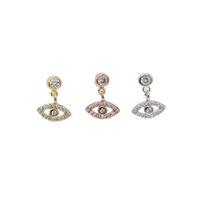 2018 Altın gümüş renk moda takı şanslı sevimli küçük göz charm türk nazar kaplamalı mini CZ güzel 925 ayar gümüş dangle küpe
