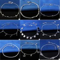 Vendita calda timbrato 925 sterling silver cavigliere per le donne semplici perline catena d'argento cavigliera piede gioielli alla caviglia