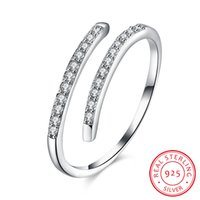 925 Sterling Silver Lady' s Ring Shining Zircon Lots Ope...