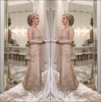 2018 New Elegant Sheer a maniche lunghe in pizzo a sirena Lunga madre della sposa Abiti da sposo in tulle con applicazioni di perline lunghezza del pavimento Madre abiti