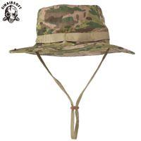 SINAIRSOFT Tactical Airsoft Sniper Camouflage Boonie Cappelli Nepalese Cap Mens American Benna Wide Brin Sun Hat Cowboy Caps per l'escursionismo Pesca