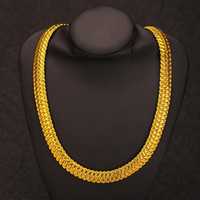 Classic Cuban Link Chain Necklace 11MM 24K Gold Plated Fashi...