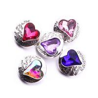 Noosa Chunks Rhinestone Heart love 18mm botones a presión para el botón a presión collar pulsera accesorios de la joyería