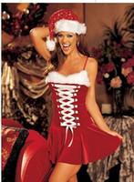 Popular Mulheres Sexy Natal Erótico Lingerie Sexy Uniforme Vermelho Tentação Camisola One Size Role Play Trajes de Palco