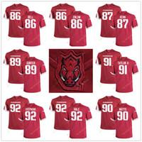 best sneakers 5ef82 7bf96 2019 Men RED WHITE #86 Tobias Enlow Arkansas Razorbacks ...