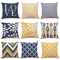 Multicolor Geometric Linen Cushion Cover Home Office Sofa Sq...