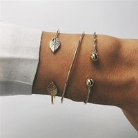 New Vintage Fashion Simple Leaf Twist Cuff Bangles For Women...