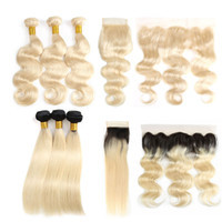 Cheap Human Virgin Hair Bundles With Closures Straight 1b 61...