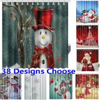 Ducha de Navidad Cortinas 3D Nueva Tela de poliéster impermeable baño cortina de la decoración de Navidad 165 * 180cm 38 Diseños HH7-230