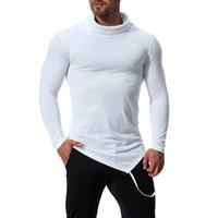 الرجال العلامة التجارية الجديدة O-الرقبة غير النظامية تي شيرت تيز ذكر عارضة طويلة الأكمام قميص تي صالح سليم للياقة البدنية الجمنازيوم T-Shirts أعلى S-2XL J181032