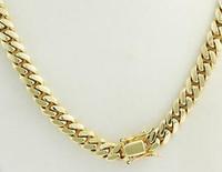 """A colar Chain cubana de Miami dos homens da suficiência do ouro amarelo de 14k lustrou 22 """"12.00mm"""