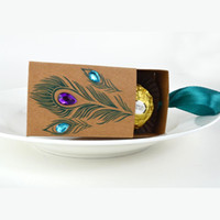 .New European Design Pfau Feder Pralinenschachtel Kraftpapier Geschenk Verpackung für Süßigkeiten Tee Dim Sum Hochzeit Bevorzugungen lin2189