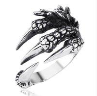 Продажа панк серебро Мужчины Женщины кольцо из нержавеющей стали Дракон когти размер 8 9 10 личности iker кольца старинные готические ювелирные изделия