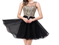 Pizzo dorato sexy chiffon nero Homecoming Abiti corti Prom Dresses Vestido De Festa Curto Plus Size Prom Dresses DH1466
