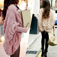 İlkbahar Sonbahar 7 Renkler Kaba Yün Hırka Kadınlar Sıcak Moda Tam Batwing Kollu Kazak Rahat Kadın Giyim Ücretsiz Kargo