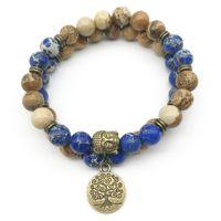 SN1281 Trendy Designer Buddha Head Juego de Pulsera Imagen Jasper Azul Oscuro Regalita Pulsera Árbol de la Vida Joyería de Piedra Natural