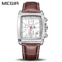 MEGIR montre à quartz haut de gamme pour hommes de marque de luxe de l'armée militaire montre en cuir montre en cuir 2028 Relogio Masculino