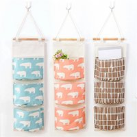 Cotton Linen Multi- layer Storage Bag Hanging Wall Bags Lovel...