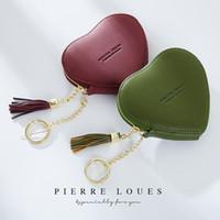 Leather Purse nuove dell'unità di elaborazione della moneta delle donne di figura sveglia del cuore del fumetto Portafoglio Portachiavi Modifica borse regalo con la nappa, 4,3 * 4 pollici Dimensioni