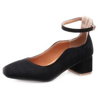 0ed19552745b Smilice 2018 Woman Faux Suede Pumps with Chunky Heel and Square Toe Elegant  Working Chic Shoes with Large Size Available A236