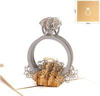 3D المنبثقة بطاقة دعوة خاتم الماس الليزر قطع بطاقات المعايدة عيد الحب مع مغلفات بريدية