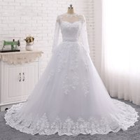 2018 Pearls Beads 2 in 1 Bridal Wedding Dress Lace Appliques...
