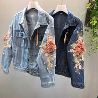 2018 Yeni Sonbahar 3D Çiçek Denim Ceket Kadın Moda Nakış Kovboy Jean Ceketler Kadın Kısa Denim Ceket Kız Dış Giyim