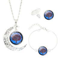 Heißer Verkauf Für Baum der Lebenszeit Edelsteine 1 Satz Legierung Anhänger Ohrringe Armband Kette Modeschmuck als Bestes Geschenk