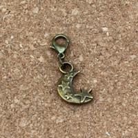 estrellas 100 piezas / lotes antiguo Luna aleación de bronce encantos de la caída con el corchete de la langosta cupo la pulsera del encanto de la joyería DIY 11x33mm A-331b