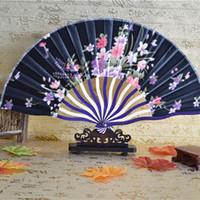 21 cm Portable Style Japonais Satin Tissu Dames À La Main Tenant Un Ventilateur Pliant Crooked Bamboo Femmes Classique Fan Party Favor