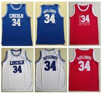 Hombre # 34 Jesús Shuttlesworth Lincoln High School Ray Allen Basketball Jersey 1998 Película Hizo juego Jersey Blue Blue White Rojo Steins Camisetas