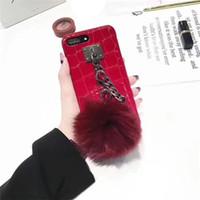 Casos Furry Bola retro Fur Caso cadeia de borla Plush TPU Mulheres menina Lady caso capa para o iPhone X XR XS Max 8 7 6 6s Além disso,