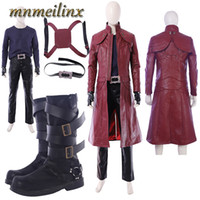 Popular Game DMC Devil May Cry 5 Costume Dante Cosplay Costume Deluxe Outfit with Boots Halloween Customize Unisex Any Size