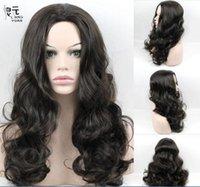 Perruque femme moitié ensemble long volume de fleur de poire bouclée naturel noir mode duveteux style naturel de cheveux longs