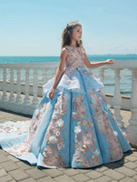 Novo Luxuoso Azul Lace Girls Pageant Vestidos Jóia Pescoço Apliques do Assoalho Comprimento Flor Meninas Vestidos Aniversário Feriado Casamento Festa Vestidos 451