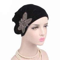 Мусульманин плиссированные стрейч печати цветок женская бархатная Шапочка химио тюрбан Hat Wrap обложка головные уборы для Рака потери волос пациентов