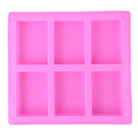 6 Cavities Handmade Rectangle Square Silicone Soap Mold Choc...