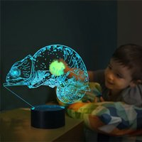 Color Changing 3D Illusion Lamp Chameleon Night Light for Ch...
