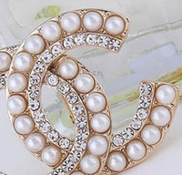 14k Gold Letters Brooches Double Layers Crystal Pearl Corsag...