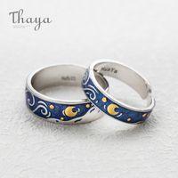 Блеск Deer Sky Gold Moon Star Couple Ring богемского Jewelry Тайя S925 Silver Emerald Кольца Гог для женщин