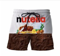New Fashion Nutella Short Pants Délicieux Sauce au Chocolat Imprime Shorts 3D Femmes Hommes Hipster Beach Shorts Mens Streetwear Conseil Shorts DK01