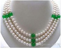 Wholesale - 3 Row 7- 8mm White Freshwater Pearl & 8mm green j...