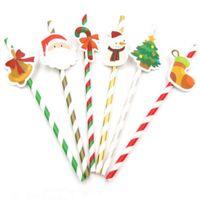 10 قطع diy عيد الميلاد ورقة القش الشرب القش أطفال عيد الميلاد حزب الديكور لوازم ورقة الشرب القش