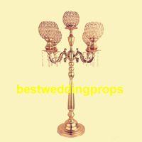Yeni stil altın şerit 5 kol kristal şamdan merkezinde çiçek kase ile düğün dekor için best0110